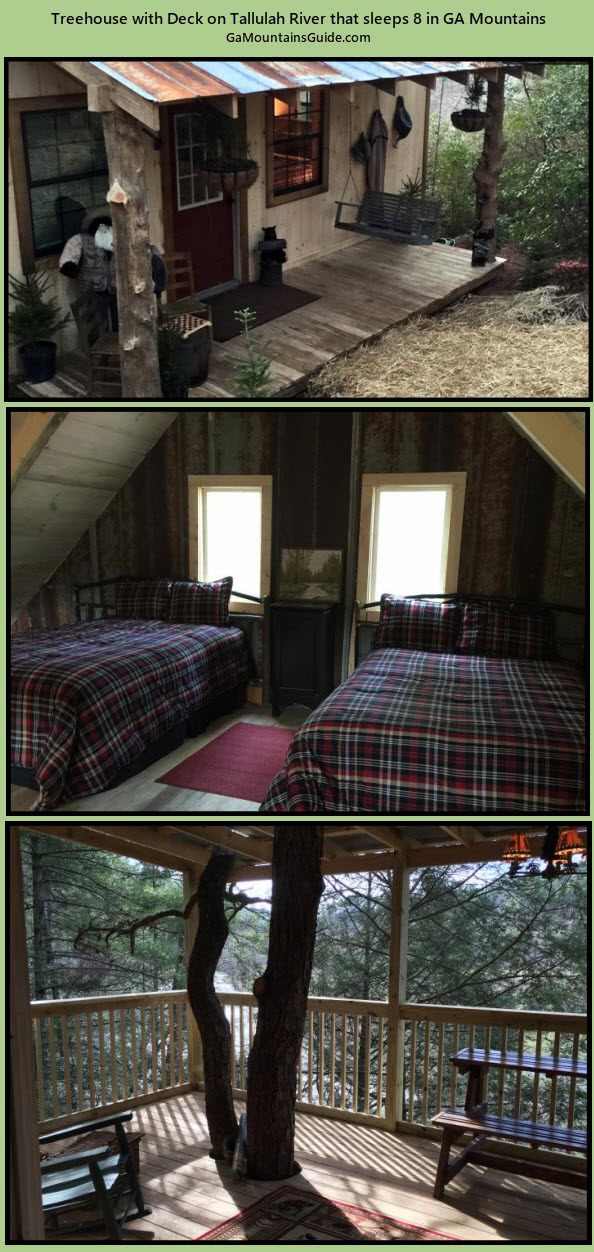 River Pines Treehouse overlooking Tallulah River - GaMountainsGuide.com