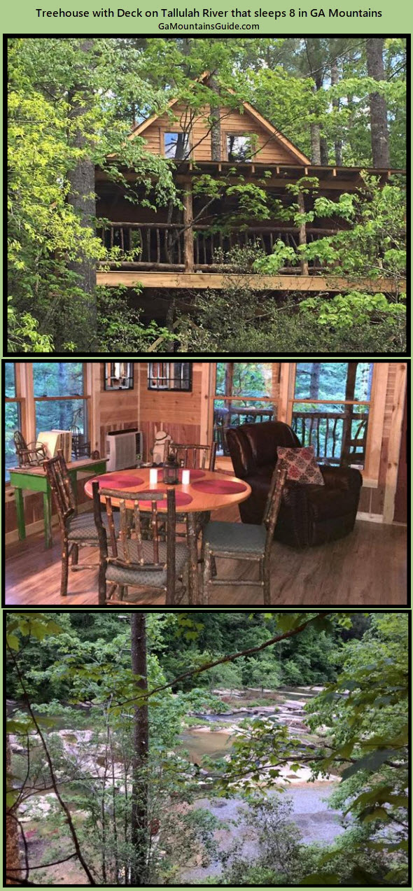 Rushing Waters River Treehouse Cabin - GaMountainsGuide.com