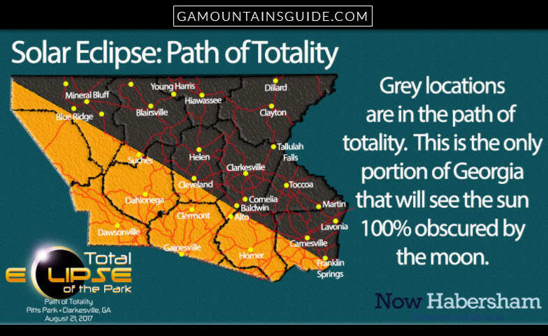 Ga Mountains Eclipse Path 2017 - GaMountainsGuide.com