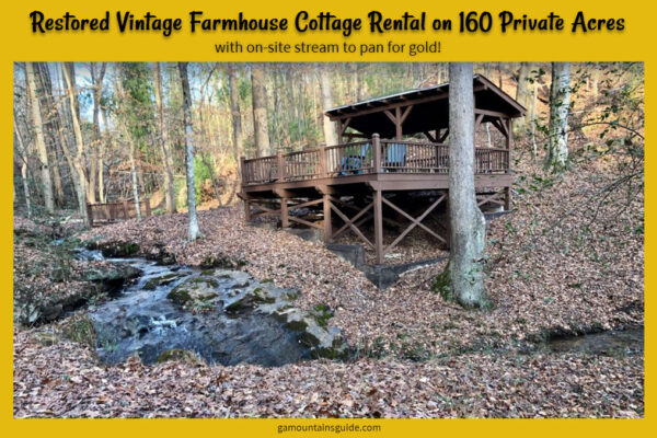 Restored Vintage Farmhouse Cottage Rental with Stream to Pan for Gold