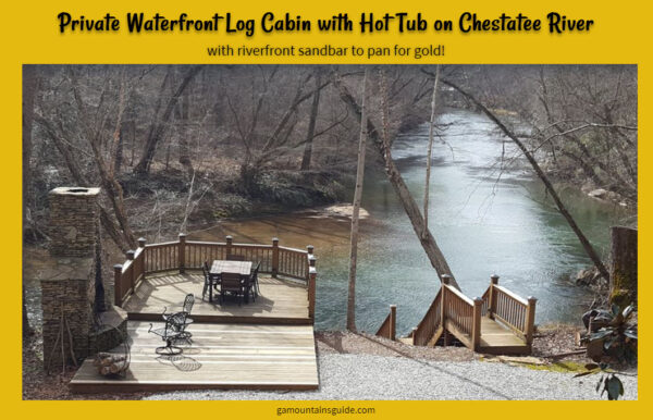 Riverfront Log Cabin Rental with Sandbar to Pan for Gold