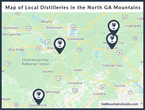 Map of Local Distilleries in North GA Mountains