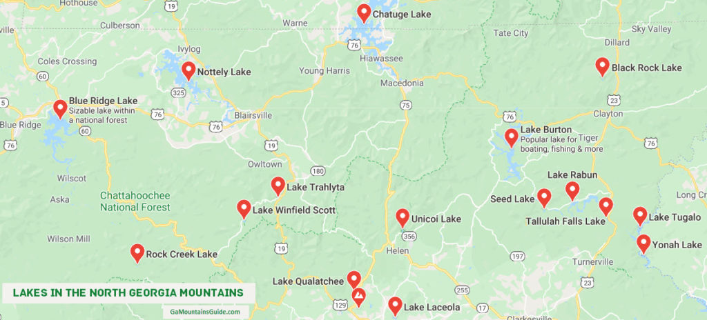 Map of Lakes in the North Georgia Mountains USA