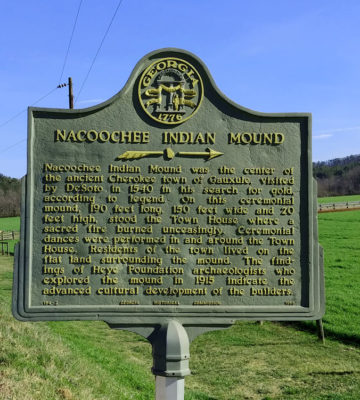 Nacoochee Indian Mound Roadside Marker at Hardman Farm Historic Site GA