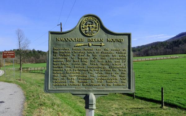 Nacoochee Indian Mound Roadside Marker at Hardman Farm Historic Site GA