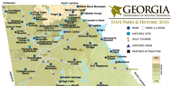 North Georgia State Parks & Historic Sites Map
