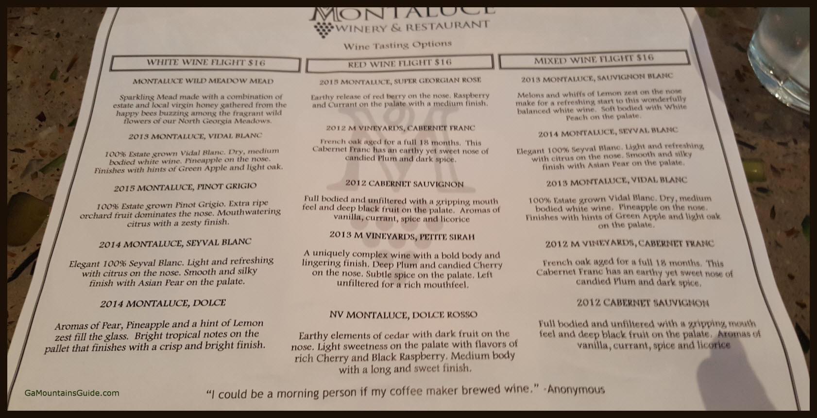 Montaluce Tasting Menu GaMountainsGuide.com 201610