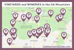 Georgia Mountains Wine Map - GaMountainsGuide.com