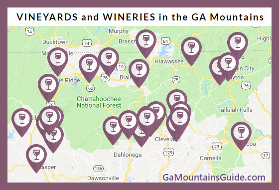North Georgia Wineries Map - Map of Vineyards in the Georgia Mountains