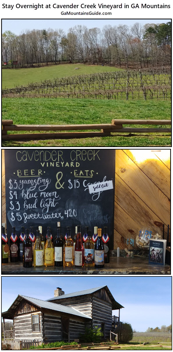 Stay overnight at Cavender Creek Vineyards - GaMountainsGuide.com