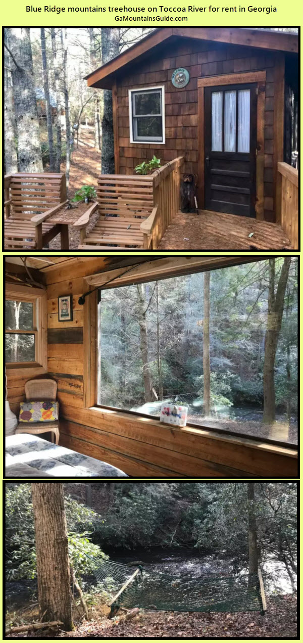Treehouse for rent on Toccoa River - GaMountainsGuide.com