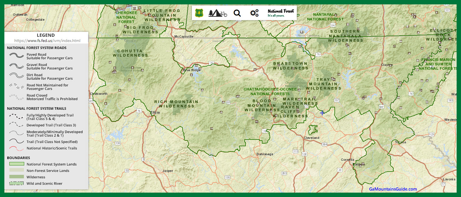 US Forest Service Ga Mountains - GaMountainsGuide.com