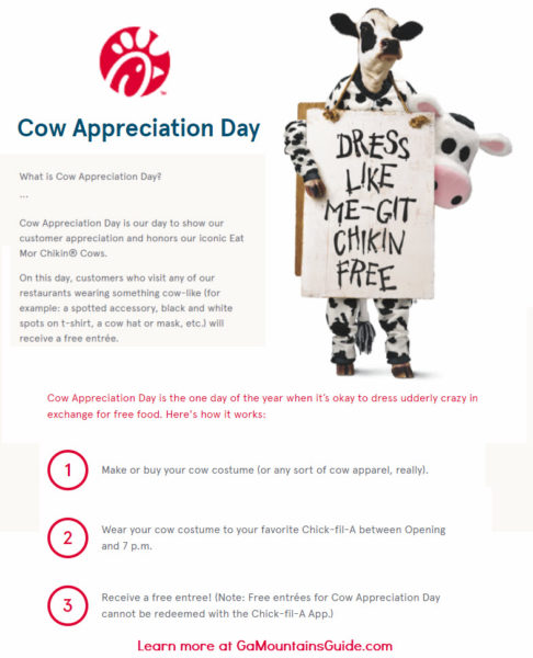 Chick-fil-A Cow Appreciation Day 2020 Free Entree Choice