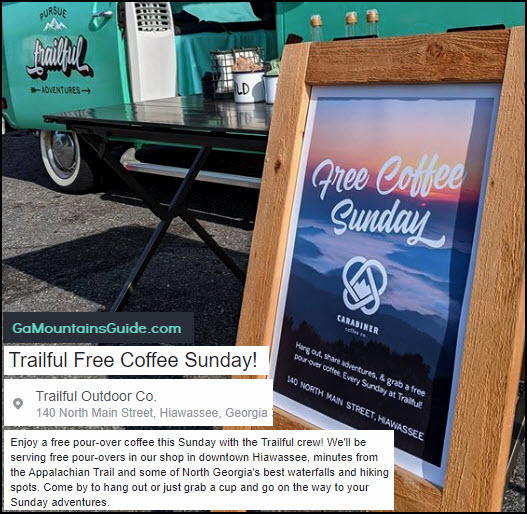 Free Coffee on Sundays at Trailful Outdoor Company in Hiawassee GA