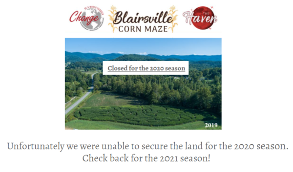 Blairsville Corn Maze in North Georgia Mountains Closed for 2020 Season - Learn more at GaMountainsGuide.com