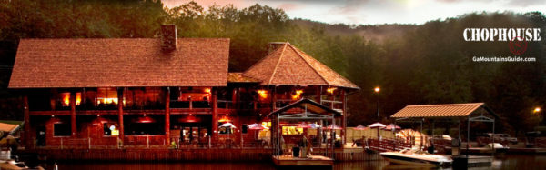 Lake front dining on Lake Burton at Chophouse at LaPrade's in the Georgia Mountains