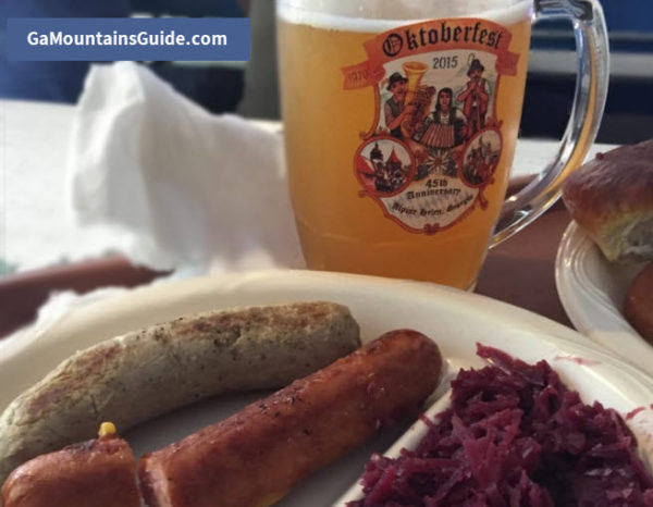 Helen Oktoberfest Traditional German Food including Brats Cabbage and Beer
