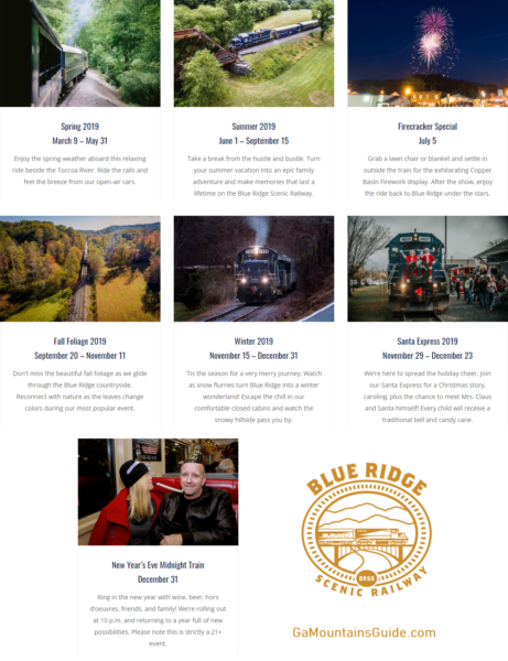 Blue Ridge Scenic Railway Scheduled Trips for 2019