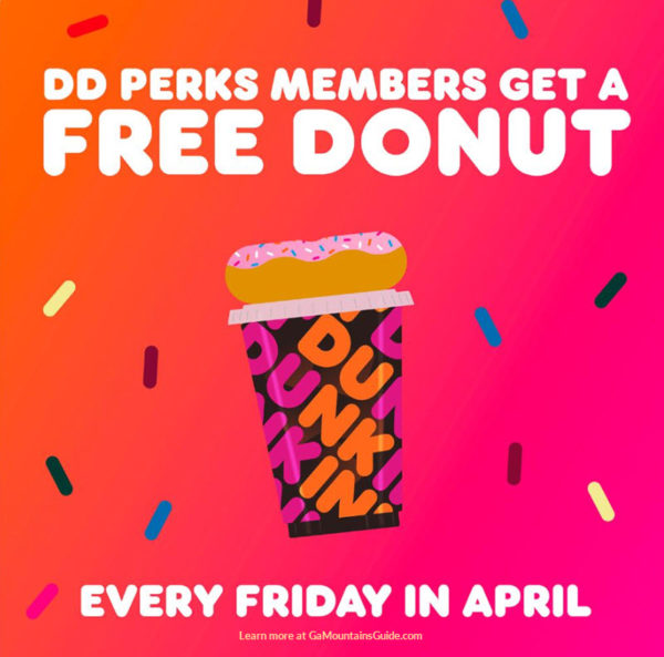 Free Donut on Fridays in April 2020 for DD Perks Members at Dunkin' Donuts