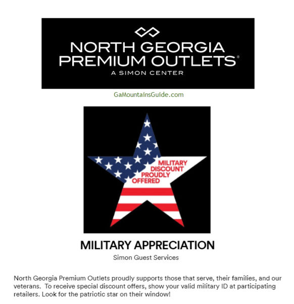 North Georgia Premium Outlets Dawsonville Military Discount Stores
