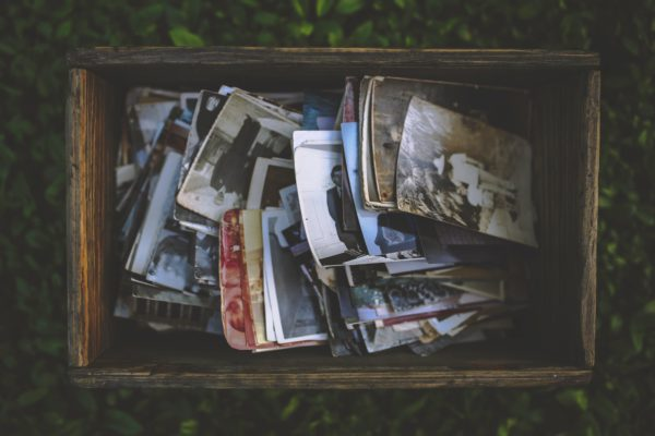 Boxed Old Photos at Antique Shop