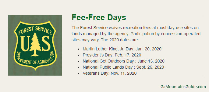 Fee Free Days at US National Forests in 2020