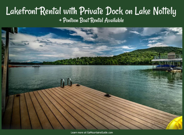Lakefront Rental with Pontoon Boat on Lake Nottely