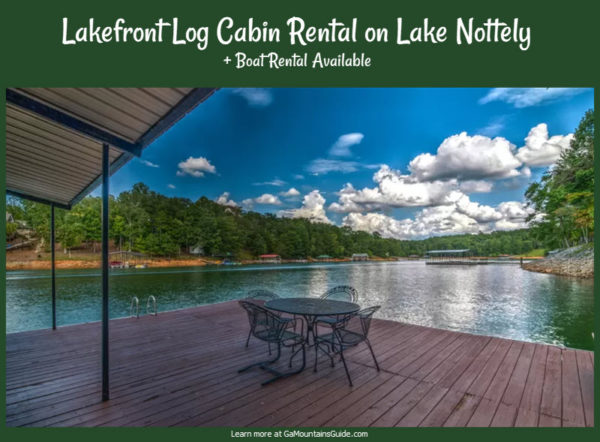Waterfront Log Cabin Rental on Lake Nottely with Boat