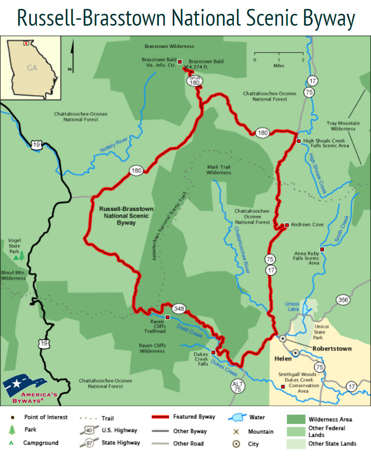 Map of Russell Brasstown National Scenic Byway in North Georgia