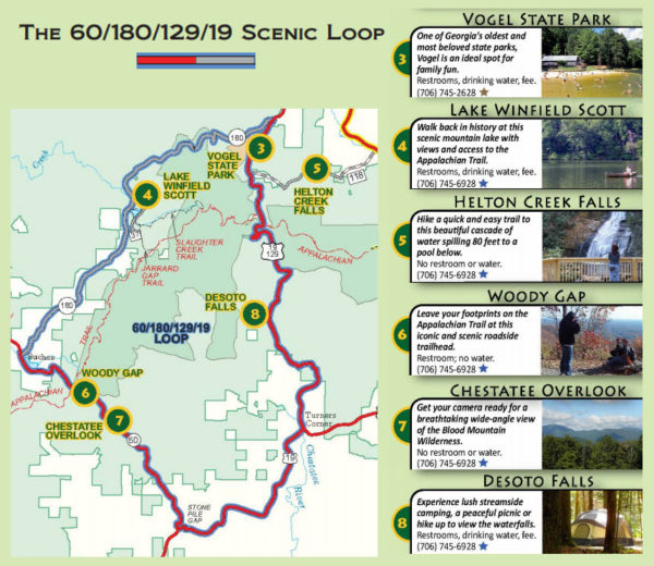 Map of Scenic Loop Drive in the Georgia Mountains (60/180/129/19)