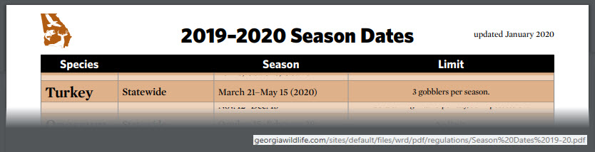 Georgia Turkey Hunting Season Dates for Spring 2020