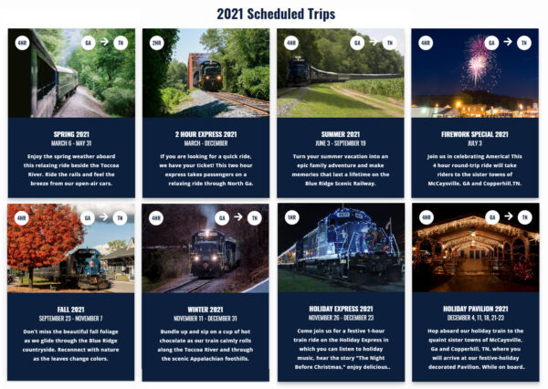 Blue Ridge Scenic Railway Schedule for 2021 Season