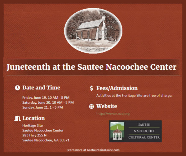 Three Days of Free Juneteenth Events at Sautee Nacoochee Center