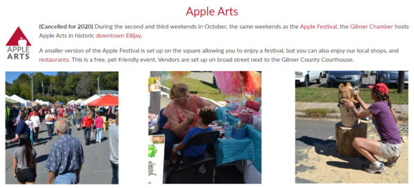 Apple Arts on the Square in downtown Ellijay, GA - GaMountainsGuide.com