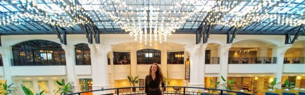 Alyce at Chateau Elan Under the Atrium and Chandelier. Sep 2020.
