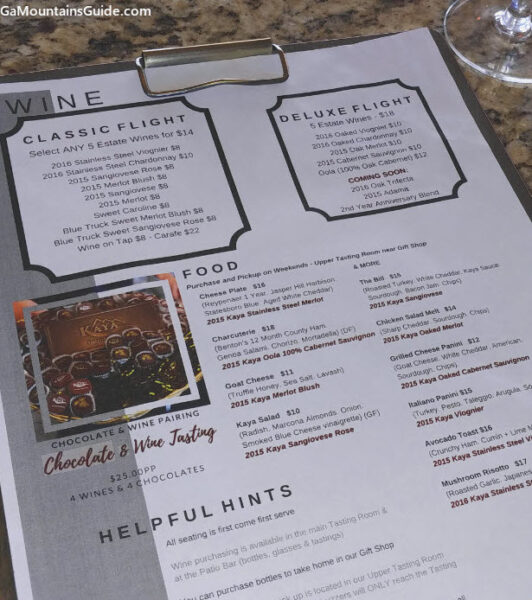 Sample of Kaya Winery Tasting Room Menu