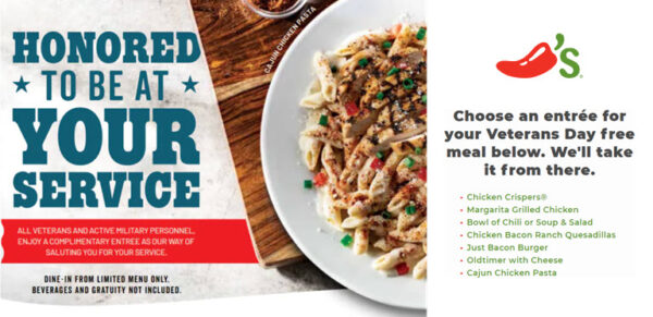Free meal for veterans at Chili's Restaurants on Veteran's Day 2020