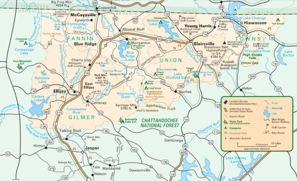 Map of Scenic Routes near Georgia Mountain Parkway in North Georgia