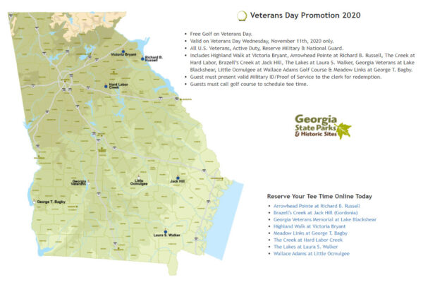 Free golf for veterans at Georgia State Parks on Veterans Day 2020