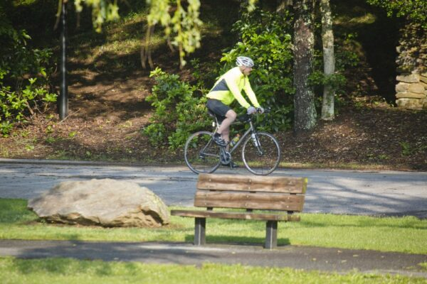 Bicyclist Sharing the Road at Vogel State Park, GA