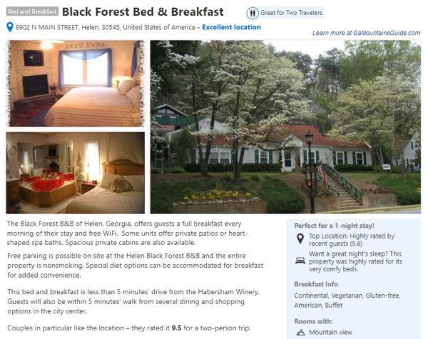 Black Forest Bed & Breakfast in Helen