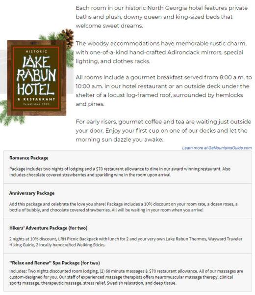 Lake Rabun Hotel Romantic Packages